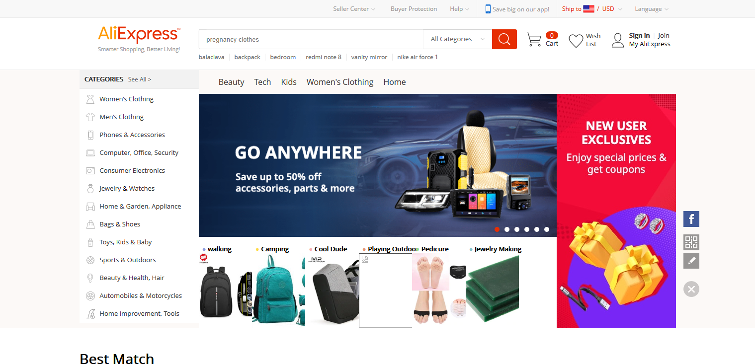 Screenshot of AliExpress' homepage
